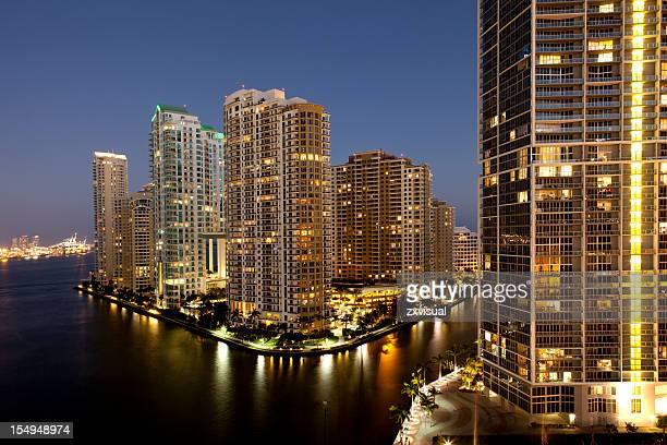 Miami lights of the city on river