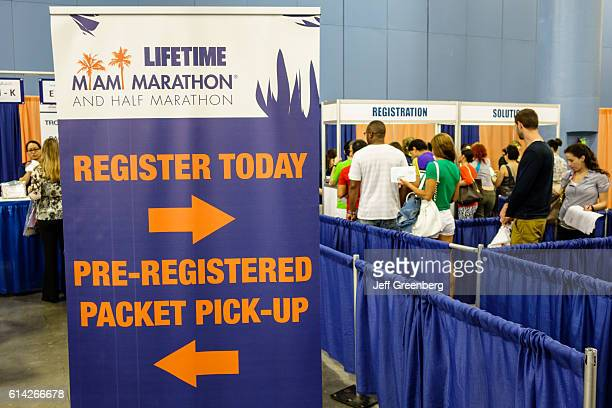 Miami Marathon and Half Marathon registration sign at the Nissan Health and Fitness Expo