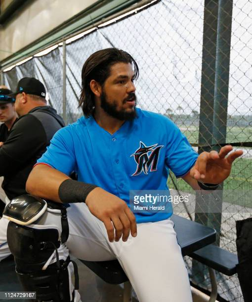 Miami Marlins catcher Jorge Alfaro looks on during the spring training baseball workouts for pitchers and catchers at Roger Dean Stadium on Wednesday...