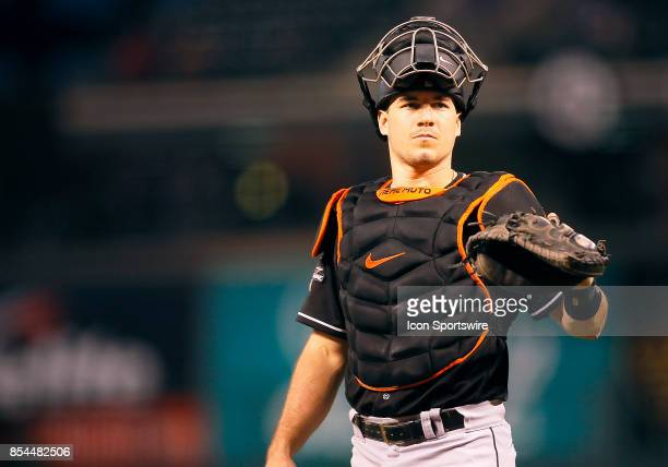 Miami Marlins catcher JT Realmuto during a regular season MLB game between the Colorado Rockies and the visiting Miami Marlins on September 26 2017...