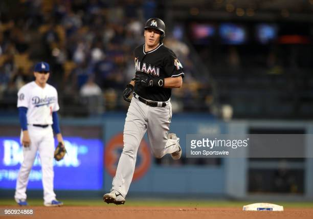 Miami Marlins Catcher JT Realmuto rounds the bases after hitting a solo home run in the third inning during a Major League Baseball game between the...