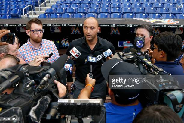 Miami Marlins CEO Derek Jeter addresses the media regarding fan attendance prior to the game against the Pittsburgh Pirates at Marlins Park on April...