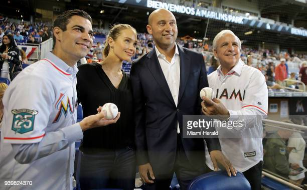 Miami Marlins CEO Derek Jeter and his wife Hannah pose with City of Miami Mayor Francis Suarez and Miami Dade County Mayor Carlos Gimenez during the...