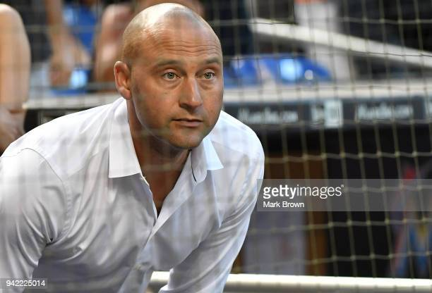 Miami Marlins CEO Derek Jeter looks on during the game between the Miami Marlins and the Boston Red Sox at Marlins Park on April 2 2018 in Miami...