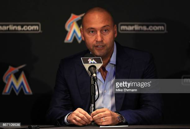 Miami Marlins CEO Derek Jeter speak with members of the media at Marlins Park on October 3 2017 in Miami Florida