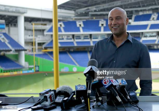 Miami Marlins CEO Derek Jeter talks with the media during a press conference on Tuesday February 13 2018 at Marlins Park in Miami Fla