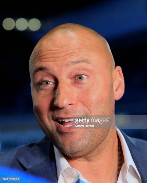 Miami Marlins coowner Derek Jeter speaks during a town hall meeting at Marlins Park in Miami on Tuesday Dec 19 2017