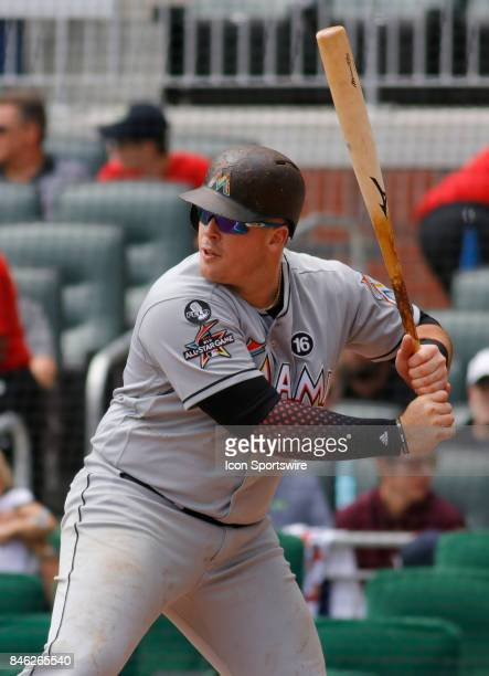 Miami Marlins first baseman Justin Bour bats during the major league baseball game between the Atlanta Braves and the Miami Marlins on September 10...