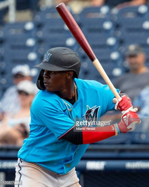 Miami Marlins infiedler Jazz Chisholm at bat during the ninth inning of a spring training game against the Houston Astros at FITTEAM Ballpark of the...
