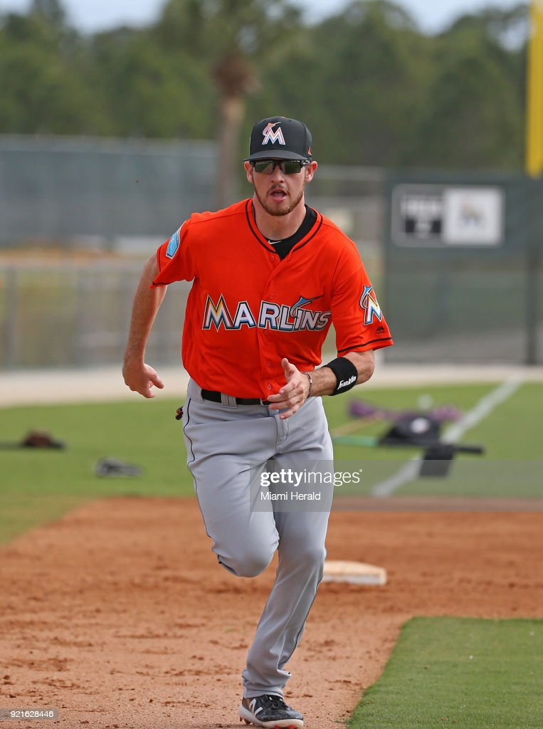 Miami Marlins infielder JT Riddle runs to home plate during spring training on Tuesday, February 20, 2018 at Roger Dean Stadium in Jupiter, Fla.