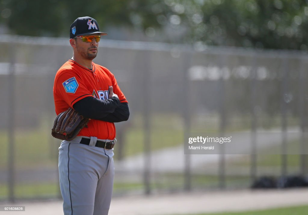 Miami Marlins infielder Martin Prado looks on during spring training on Tuesday, February 20, 2018 at Roger Dean Stadium in Jupiter, Fla.