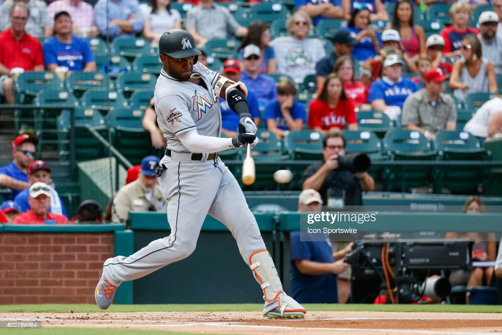 Miami Marlins Left field Marcell Ozuna (13) bats during the MLB game between the Miami Marlins and Texas Rangers on July 24, 2017 at Globe Life Park in Arlington, TX.