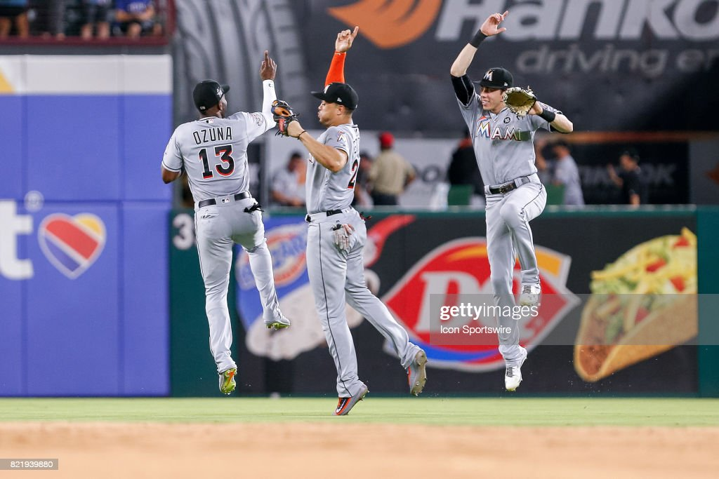 Miami Marlins Left field Marcell Ozuna (13) celebrates with his teammates after winning the MLB game between the Miami Marlins and Texas Rangers on July 24, 2017 at Globe Life Park in Arlington, TX. Miami defeats Texas 4-0.