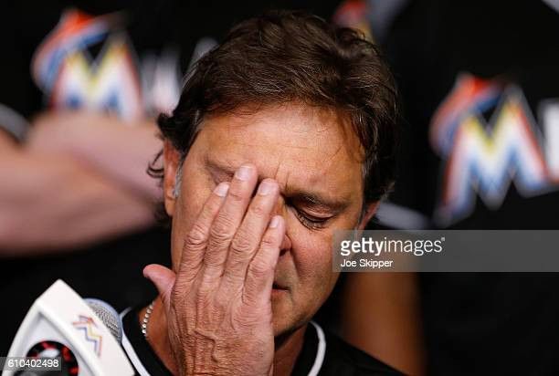 Miami Marlins manager Don Mattingly reacts during a press conference after pitcher Jose Fernanedez died in a boating accident Play was cancelled...