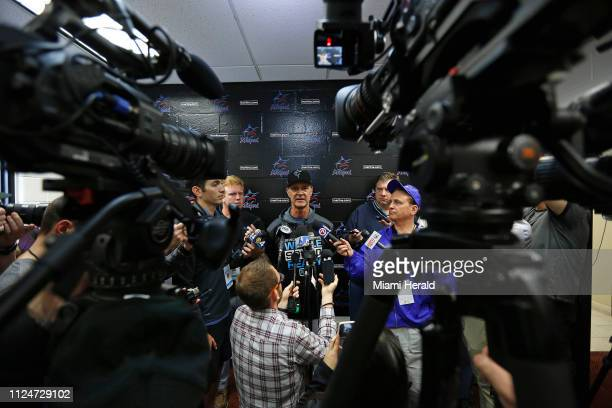 Miami Marlins manager Don Mattingly talks to the media at Roger Dean Stadium on Wednesday February 13 2019 in Jupiter Fla