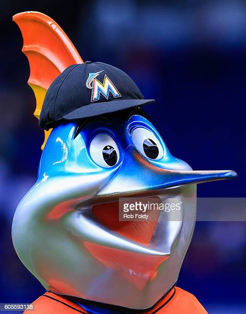 Miami Marlins mascot Billy the Marlin after the game against the Los Angeles Dodgers at Marlins Park on September 11 2016 in Miami Florida