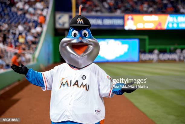 Miami Marlins mascot Billy the Marlin before the Opening Day game against the Atlanta Braves at Marlins Park on April 11 2017 in Miami Florida