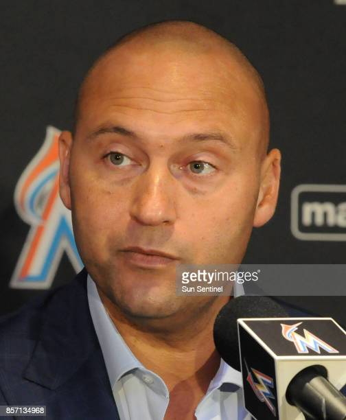Miami Marlins new owner Derek Jeter speaks to reporters for the first time since completing a purchase of the team from Jeffrey Loria on Tuesday Oct...