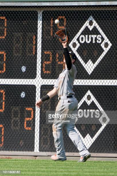 Miami Marlins Outfield Brian Anderson catches a fly ball during the seventh inning of a MLB game between the Miami Marlins and the Philadelphia...