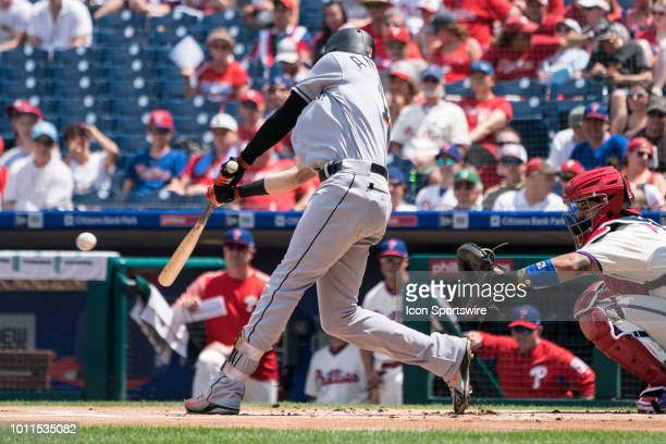 Miami Marlins Outfield Brian Anderson hits a single during the first inning of a MLB game between the Miami Marlins and the Philadelphia Phillies on...