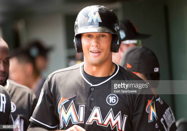 Miami Marlins Outfielder Boo Vazquez smiles in the dugout as he celebrates scoring a run during an MLB spring training game between the Detroit...