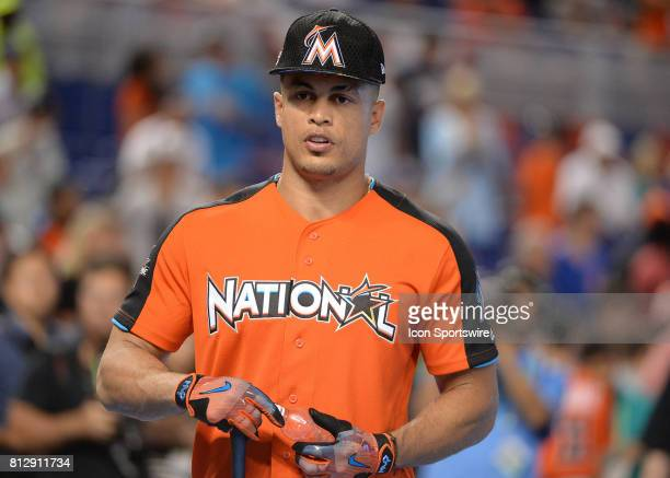 Miami Marlins outfielder Giancarlo Stanton after batting practice prior the Home Run Derby on July 09 2017 at Marlins Park in Miami FL