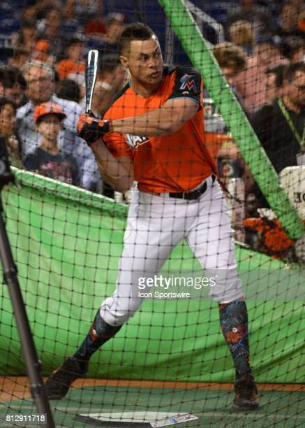 Miami Marlins outfielder Giancarlo Stanton during batting practice prior the Home Run Derby on July 09 2017 at Marlins Park in Miami FL