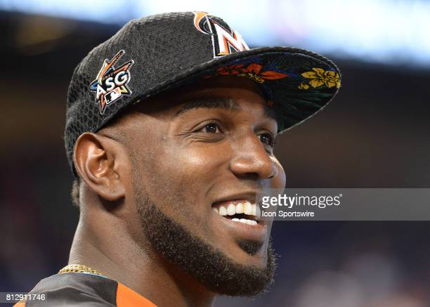 Miami Marlins outfielder Marcell Ozuna prior the Home Run Derby on July 09 2017 at Marlins Park in Miami FL