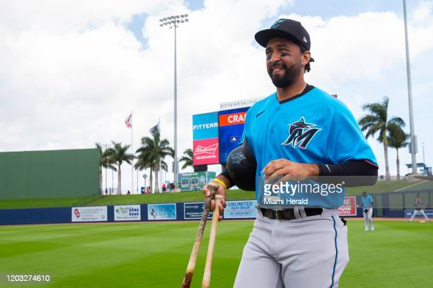 Miami Marlins outfielder Matt Kemp before the start of a spring training game against the Houston Astros at FITTEAM Ballpark of the Palm Beaches...