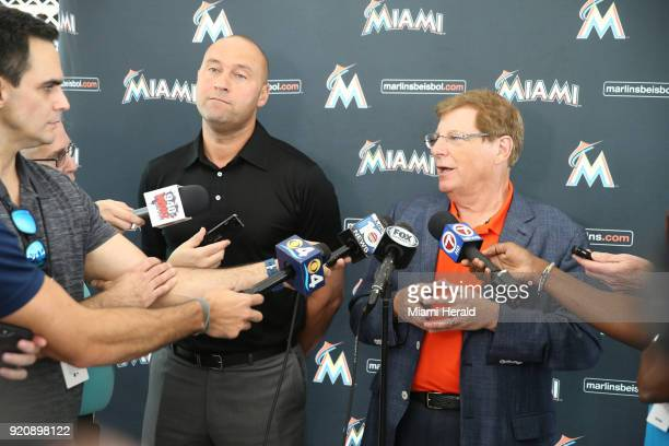Miami Marlins owner Derek Jeter and Bruce Sherman talk to the media on their first day of full squad workout on Monday February 19 2018 at the team's...