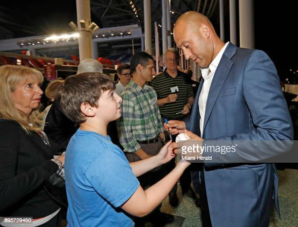 Miami Marlins owner Derek Jeter with fans after a town hall meeting at Marlins Park in Miami on Tuesday Dec 19 2017