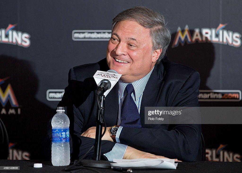 Miami Marlins Resign Giancarlo Stanton - Press Conference : News Photo