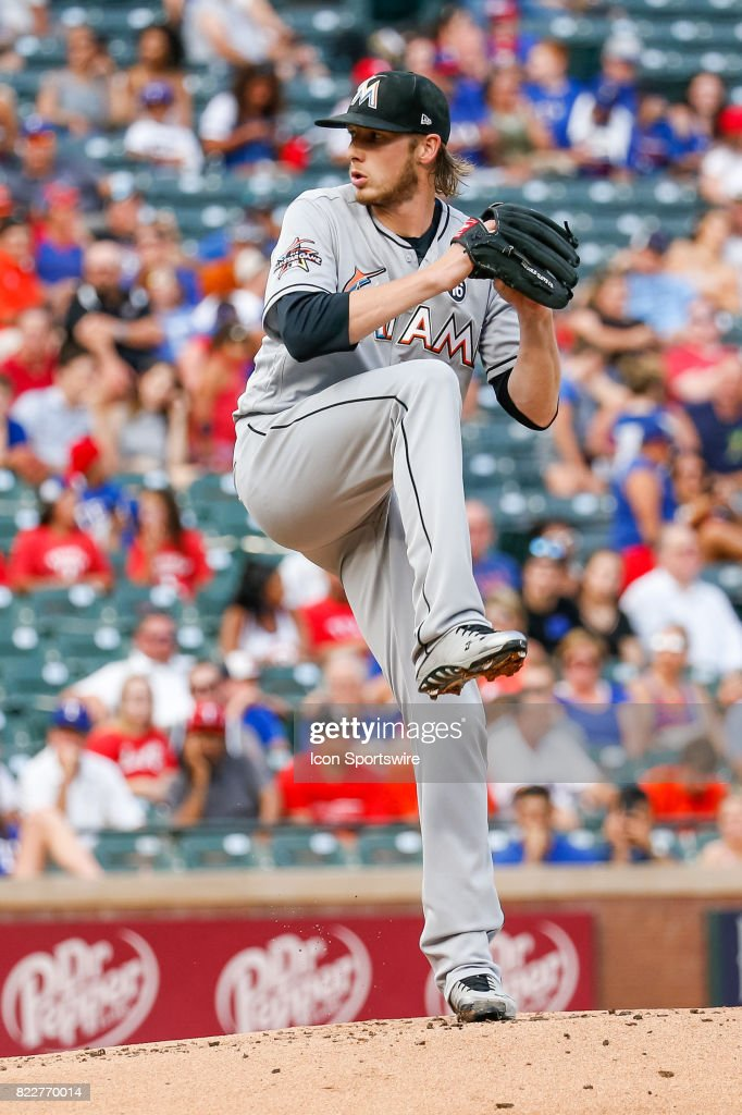 Miami Marlins Pitcher Adam Conley (61) throws during the MLB game between the Miami Marlins and Texas Rangers on July 24, 2017 at Globe Life Park in Arlington, TX.