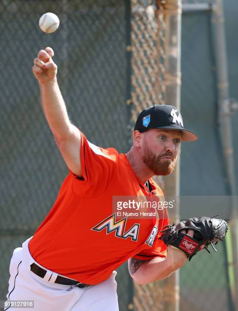Miami Marlins pitcher Dan Straily throws during spring training on February 14 at Roger Dean Stadium in Jupiter Fla