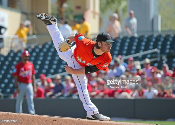Miami Marlins pitcher Dillon Peters throws during the first inning against the St Louis Cardinals at Roger Dean Chevrolet Stadium in Jupiter Fla on...