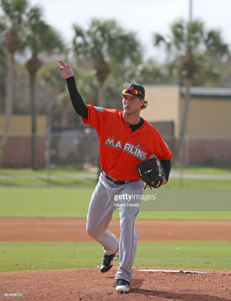 Miami Marlins pitcher Drew Steckenrider running pitching drills during spring training on Tuesday, February 20, 2018 at Roger Dean Stadium in Jupiter, Fla.