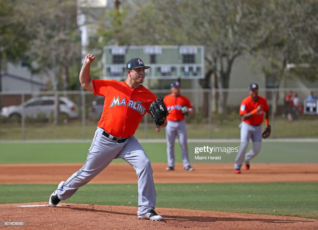 Miami Marlins pitcher Javy Guerra running pitching drills during spring training on Tuesday, February 20, 2018 at Roger Dean Stadium in Jupiter, Fla.