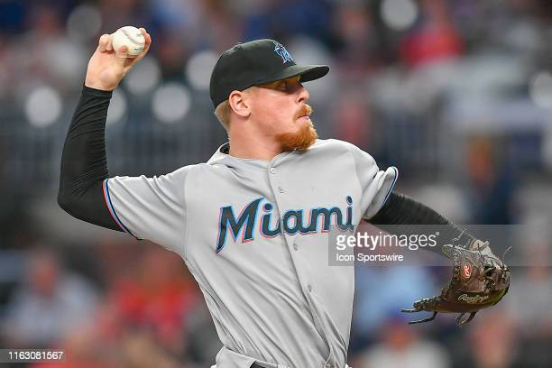 Miami Marlins pitcher Jeff Brigham throws a pitch during the MLB game between the Miami Marlins and the Atlanta Braves on August 21st 2019 at...