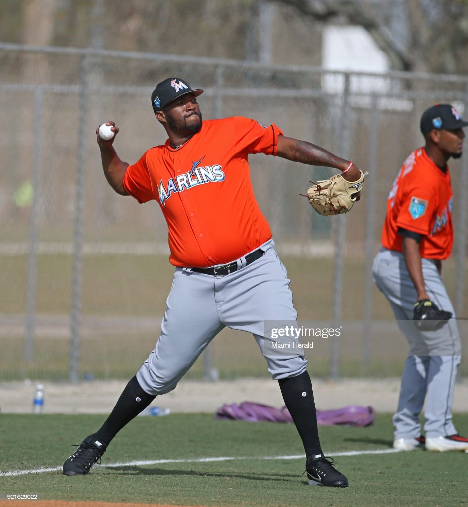 Miami Marlins pitcher Jumbo Diaz throws during spring training on Tuesday, February 20, 2018 at Roger Dean Stadium in Jupiter, Fla.