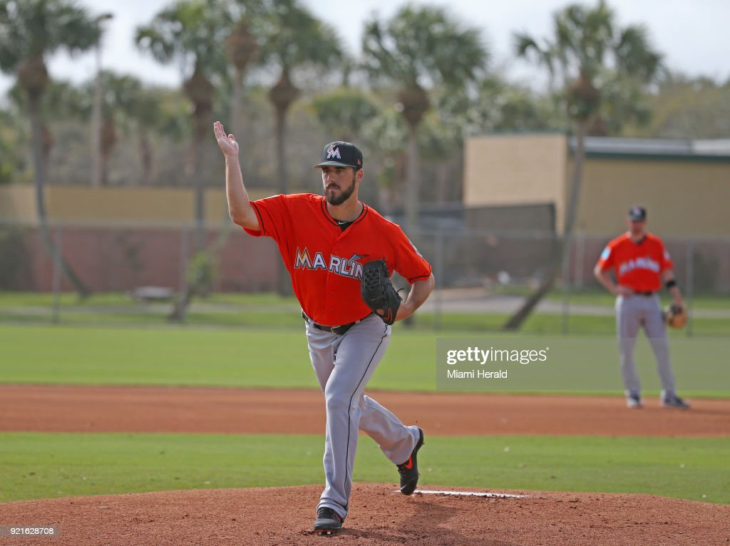 Miami Marlins pitcher Kyle Barraclough running pitching drills during spring training on Tuesday, February 20, 2018 at Roger Dean Stadium in Jupiter, Fla.