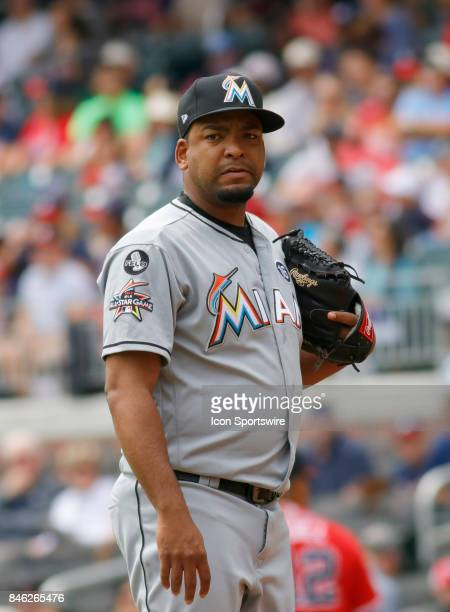 Miami Marlins pitcher Odrisamer Despaigne during the major league baseball game between the Atlanta Braves and the Miami Marlins on September 10 at...