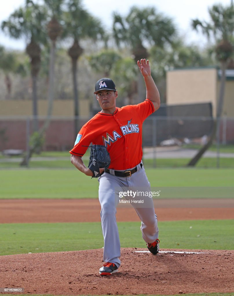 Miami Marlins pitcher Wei-Yin Chen running pitching drills during spring training on Tuesday, February 20, 2018 at Roger Dean Stadium in Jupiter, Fla.