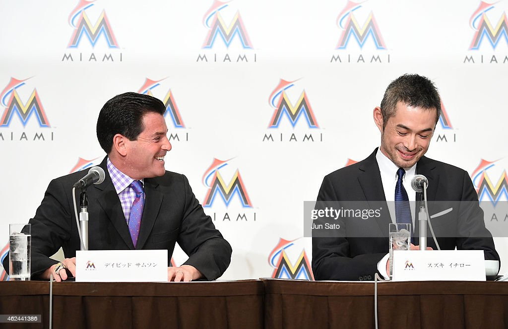 Miami Marlins president David Samson and Ichiro Suzuki are seen during the press conference at the Capitol Hotel Tokyu on January 29, 2015 in Tokyo, Japan. Ichiro Suzuki, a 41-year-old outfielder with nearly 3,000 hits, has finalized a $2-million, one-year contract with the Miami Marlins.