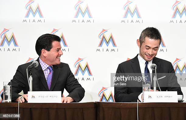 Miami Marlins president David Samson and Ichiro Suzuki are seen during the press conference at the Capitol Hotel Tokyu on January 29 2015 in Tokyo...