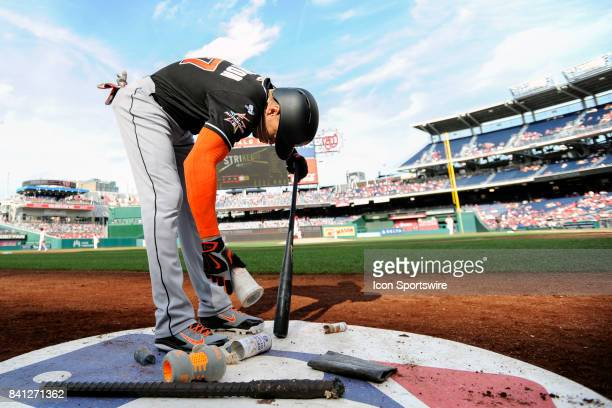 Miami Marlins right fielder Giancarlo Stanton comes into the on deck circle during an MLB game between the Miami Marlins and the Washington Nationals...