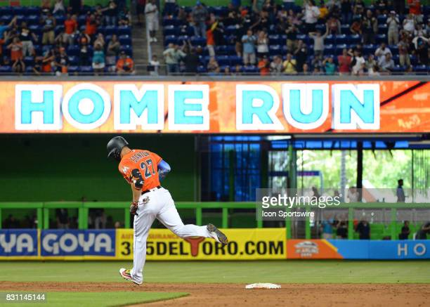 Miami Marlins right fielder Giancarlo Stanton hits his 42nd home run and ties Gary Sheffield's franchise record set in 1996 during a game between the...