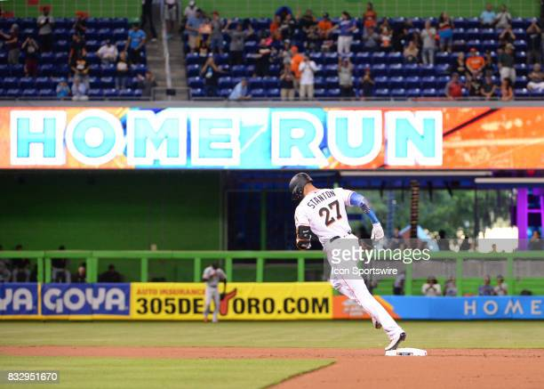 Miami Marlins right fielder Giancarlo Stanton hits home run number 43 and becomes franchise leader during a game between the Miami Marlins and the...