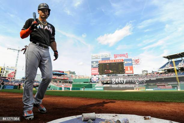 Miami Marlins right fielder Giancarlo Stanton stands in the on deck circle during an MLB game between the Miami Marlins and the Washington Nationals...