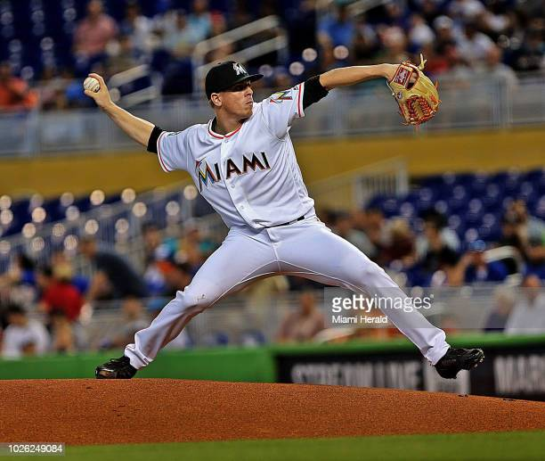 Miami Marlins starting pitcher Jeff Brigham throws a pitch during the first inning against the Toronto Blue Jays on Sunday Sept 2 2018 at Marlins...