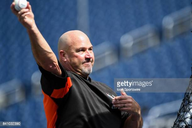 Miami Marlins third base coach Fredi Gonzalez throws batting practice prior to an MLB game between the Miami Marlins and the Washington Nationals on...